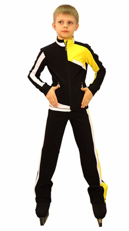 IceDress Figure Skating Outfit - Thermal - Crossover for Boys(Black, White and Yellow)