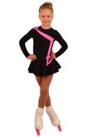 IceDress Figure Skating Dress - Thermal - Bows 2 (Black with Bright Pink)