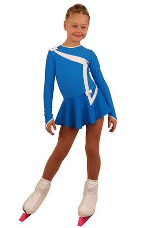 IceDress Figure Skating Dress - Thermal - Bows 2 (Blue with White)