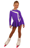 IceDress Figure Skating Dress - Thermal - Bows 2 (Purple with White)