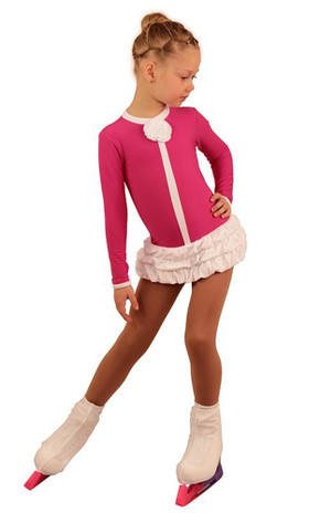 IceDress Figure Skating Dress - Thermal - Buff (Fuchsia with White)