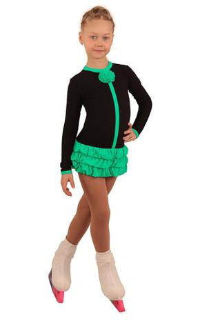 IceDress Figure Skating Dress - Thermal - Buff (Black with Mint)