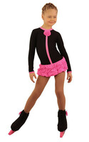 IceDress Figure Skating Dress - Thermal - Buff (Black with Hot Pink)