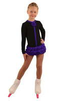 IceDress Figure Skating Dress - Thermal - Buff (Black with Purple)