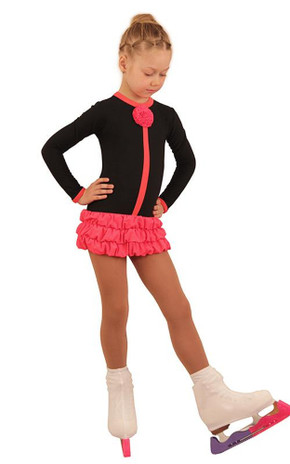 IceDress Figure Skating Dress - Thermal - Buff (Black with Hot Coral)