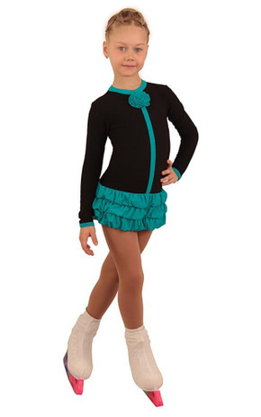 IceDress Figure Skating Dress - Thermal - Buff (Black with Turquoise)