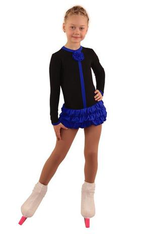 IceDress Figure Skating Dress - Thermal - Buff (Black with Cornflower)