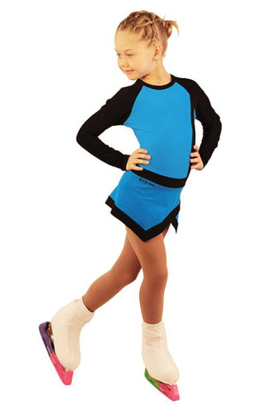 IceDress Figure Skating Dress - Thermal - IceSports (Blue with Black)