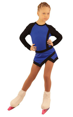IceDress Figure Skating Dress - Thermal - IceSports (Cornflower with Black)