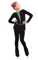 IceDress Figure Skating Dress - Thermal - Arabesque 3 (Black with Green rhinestones)