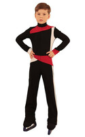 IceDress - Figure Skating Training Overalls for Boys - Skating (Black,Red and White)