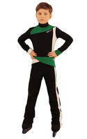 IceDress - Figure Skating Training Overalls for Boys - Skating (Black, Green and White)