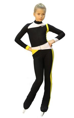 IceDress - Figure Skating Training Overalls  - Skating (Black, Yellow and White)