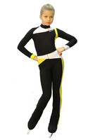 IceDress - Figure Skating Training Overalls  - Skating (Black, Yellow and White)