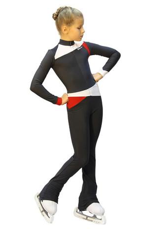 IceDress - Figure Skating Training Overalls  - Skating (Dark grey, Red and White )