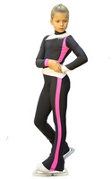 IceDress - Figure Skating Training Overalls  - Skating (Dark grey, Hot pink and White )