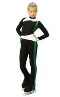 IceDress - Figure Skating Training Overalls  - Skating (Black, Green and White)