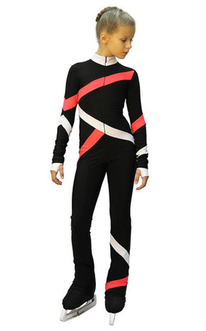 IceDress - Figure Skating Training Overalls  - Quad (Black, Coral and White)
