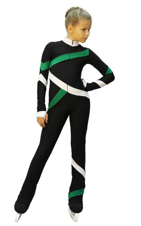 IceDress - Figure Skating Training Overalls  - Quad (Black, Green and White)