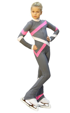 IceDress - Figure Skating Training Overalls  - Quad (Light grey, Pink and White)
