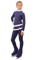 IceDress - Figure Skating Training Overalls  - Valley (Grey-Dark Blue with White)