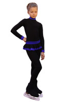 IceDress - Figure Skating Training Overalls  - Valley (Black with Cornflower)