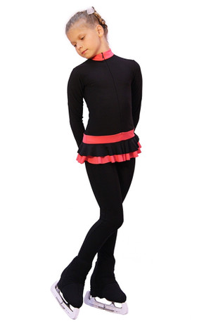 IceDress - Figure Skating Training Overalls  - Valley (Black with Coral)