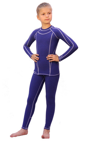 IceDress -  Figure Skating Thermal Underwear  (Blue melange with White stitching)