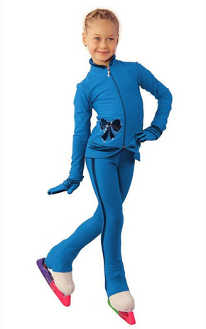 IceDress Figure Skating Outfit - Thermal - Butterfly(Blue with velvet and crystals Preciosa)