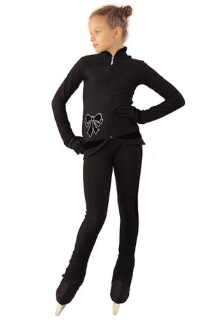 IceDress Figure Skating Outfit - Thermal - Butterfly(Black with velvet and crystals Preciosa)