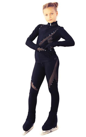IceDress - Figure Skating Training Outfit - Cascade(Black with Rhinestones)