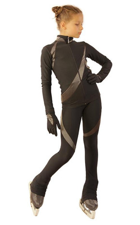 IceDress - Figure Skating Training Outfit - Cascade-Silver (Dark Grey with Silver)