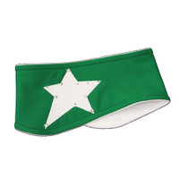 "IceDress - Two-Color Thermal Figure Skating Wide Headband ""Starlet"" (White and Green)"