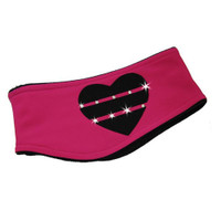 "IceDress - Two-Color Thermal Figure Skating Headband ""Hearts"" (Raspberry and Black)"