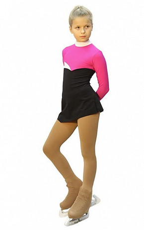 IceDress Figure Skating Dress - Thermal - Todes (Fuchsia, Black and White)
