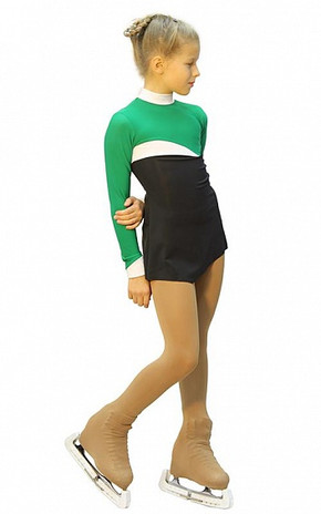 IceDress Figure Skating Dress - Thermal - Todes (Green, Black and White)