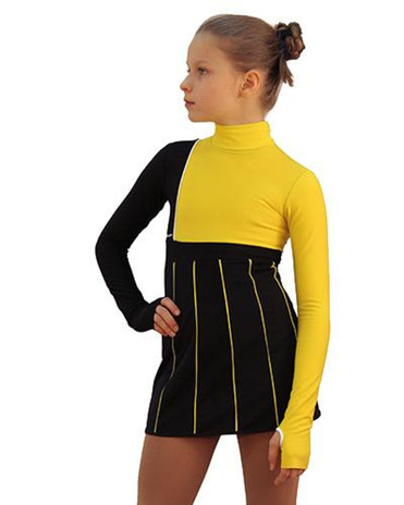 IceDress Figure Skating Dress - Thermal - IceFashion (Black with Yellow) 2nd view