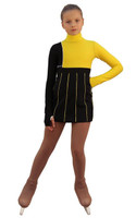 IceDress Figure Skating Dress - Thermal - IceFashion (Black with Yellow)