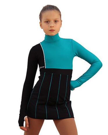 IceDress Figure Skating Dress - Thermal - IceFashion (Black with Emerald) 2nd view