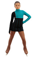 IceDress Figure Skating Dress - Thermal - IceFashion (Black with Emerald)