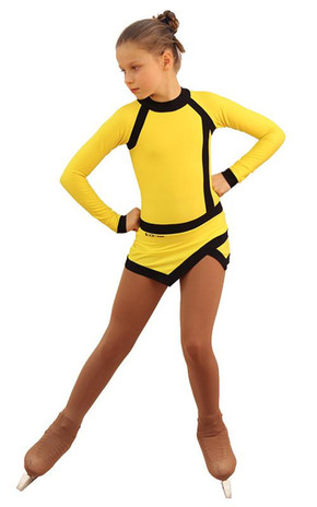 IceDress Figure Skating Dress - Thermal - IceSports (Yellow and Black) 2nd view