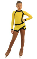 IceDress Figure Skating Dress - Thermal - IceSports (Yellow and Black)