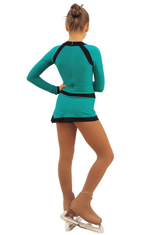 IceDress Figure Skating Dress - Thermal - IceSports (Emerald and Black) 2nd view