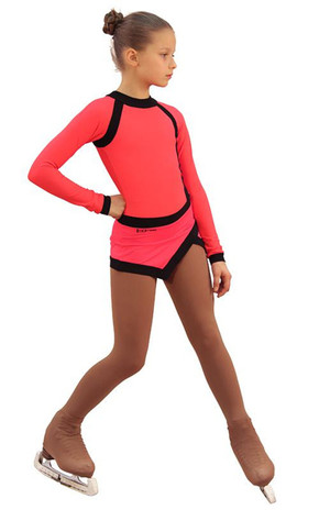 IceDress Figure Skating Dress - Thermal - IceSports (Hot Coral and Black) 2nd view