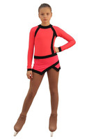 IceDress Figure Skating Dress - Thermal - IceSports (Hot Coral and Black)