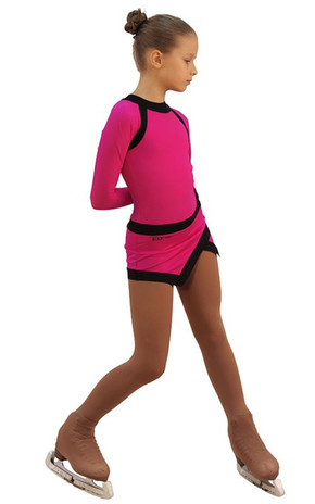 IceDress Figure Skating Dress - Thermal - IceSports (Fuchsia and Black) 2nd view