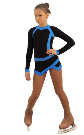 IceDress Figure Skating Dress - Thermal - IceSports (Black and Blue) 2nd view