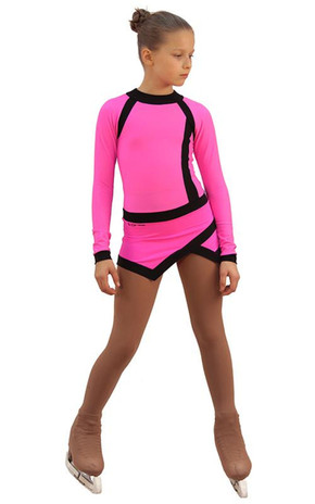 IceDress Figure Skating Dress - Thermal - Jackson 2 (Hot Pink and Black) 2nd view