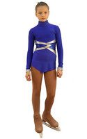IceDress Figure Skating Dress - Thermal - Jackson 2 (Cornflower Blue with Silver and Cornflower Lycra)
