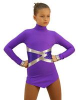 IceDress Figure Skating Dress - Thermal - Jackson 2 (Purple with Silver and Purple Lycra) 2nd view